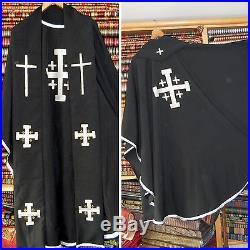 Black Jerusalem Cross CHASUBLE, CASULA, VESTMENT, CASEL, CASULLA KASEL- MESSGEWAND