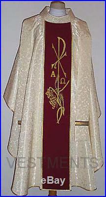 Chasuble Vestment Red Cream Kasel Messgewand Casula Casulla ORN-031
