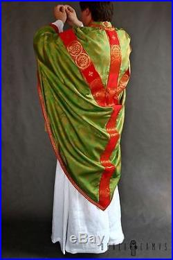 Green Silk Conical Vestment Chasuble Kasel Messgewand Stole Stola Maniple