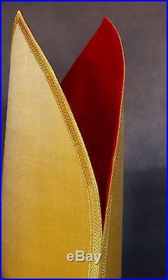 Gold Silk Episcopal Bishop Mitre Auriphrygiata Chasuble Kasel Messgewand