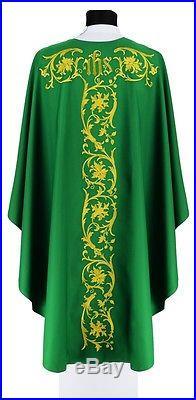 Green Gothic Chasuble 671-Z Vestment Casulla Verde Casula Grün Kasel Messgewand