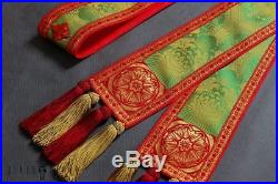 Green Silk Conical Vestment Chasuble Kasel Messgewand Stole Stola Manipel