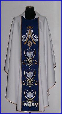 Marian White Messgewand Chasuble Vestment Kasel