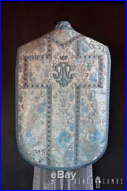 Marian White Silver Blue Vestment Chasuble Kasel Messgewand Stole Stola Maniple