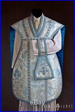 Marian White Silver Blue Vestment Chasuble Kasel Messgewand Stole Stola-maniple