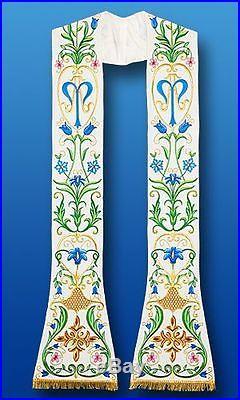 Marian White Stole, Etole Chasuble Vestment Kasel Messgewand