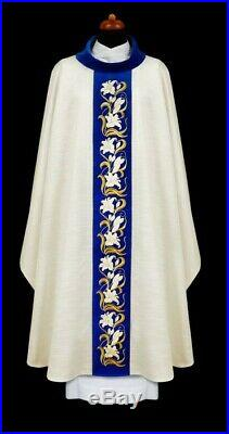 Marian ecru Embroidered Messgewand Chasuble Vestment Kasel