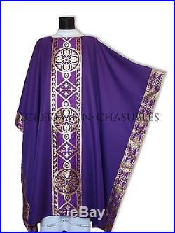 Purple Chasuble Kasel Messgewand Vestment Casula MX013-F us