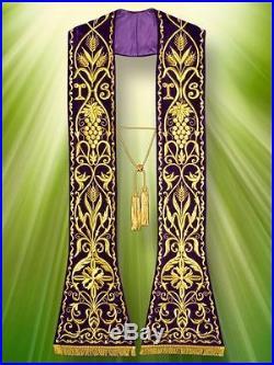 Purple Confession Etole Chasuble Vestment Kasel Messgewand