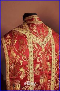 Red Vestment Roman Chasuble Kasel Messgewand Stole Stola Maniple Manipel