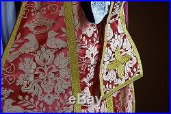 Rose Pink Silk Vestment Chasuble Kasel Messgewand Stole Stola Maniple Manipel