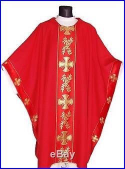 Red Monastic Chasuble Kasel Messgewand Vestment Casula MX006-C us
