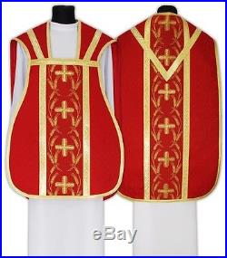 Red Roman Chasuble Kasel Messgewand Vestment Casula R032-C25 us