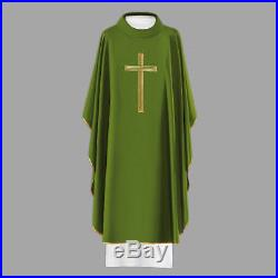 Set Of 4 Chasuble Vestment With Gold Cross Kasel Casulla Messgewand