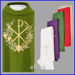 Set Of 4 Chasuble Vestment With Pax Symbol Kasel Casulla Messgewand