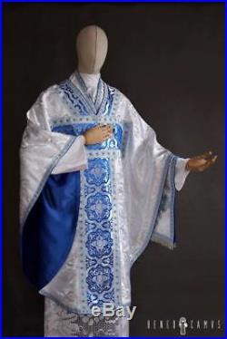 White Borromeo Marian Vestment Chasuble Kasel Messgewand Stole Maniple Manipel