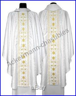 White Chasuble Kasel Messgewand Vestment Casula 561-B25 us