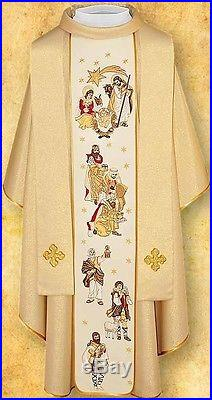 White Christmas Messgewand Chasuble Vestment Kasel