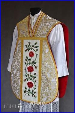 White Marian Vestment Chasuble Kasel Messgewand Stole Stola Maniple Manipel