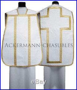 White Roman chasuble Römische Kasel Messgewand romaine Casulla romana R-B25 us