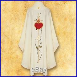 White Sacred Heart Messgewand Chasuble Vestment Kasel