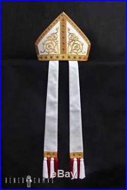 White Silk Episcopal Bishop Becket Mitre Pretiosa Chasuble Kasel Messgewand