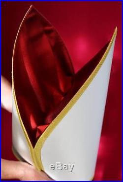 White Silk Episcopal Bishop Mitre Simplex Chasuble Kasel Messgewand