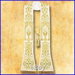 White Stole Messgewand Chasuble Vestment Kasel