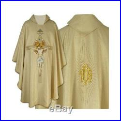 White ecru Embroidered Messgewand Chasuble Vestment Kasel